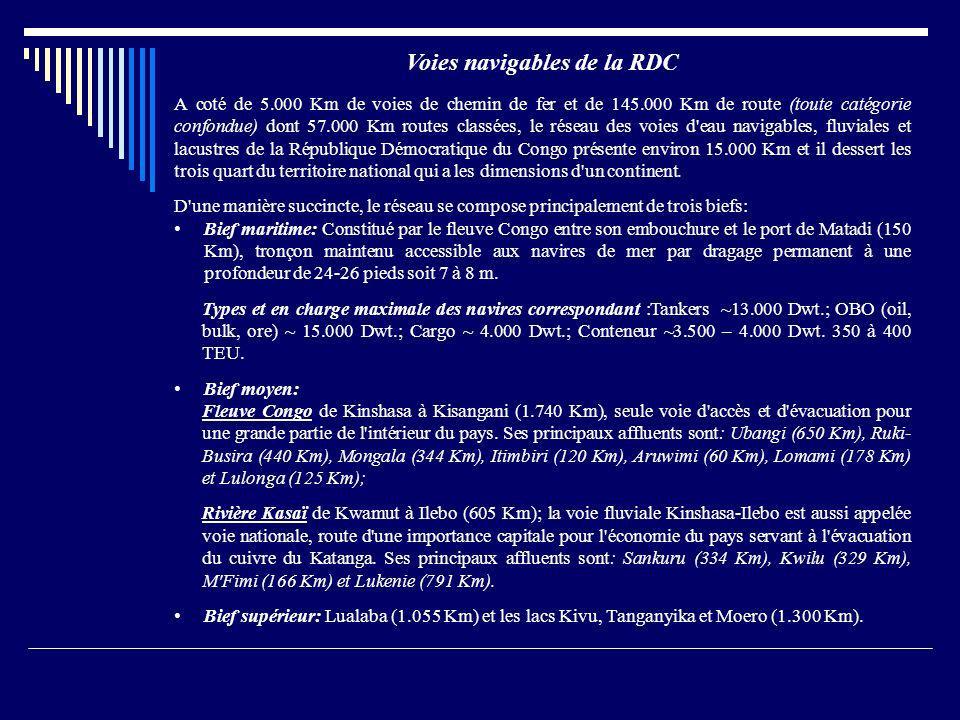 Voies navigables de la RDC A coté de 5.000 Km de voies de chemin de fer et de 145.000 Km de route (toute catégorie confondue) dont 57.000 Km routes cl