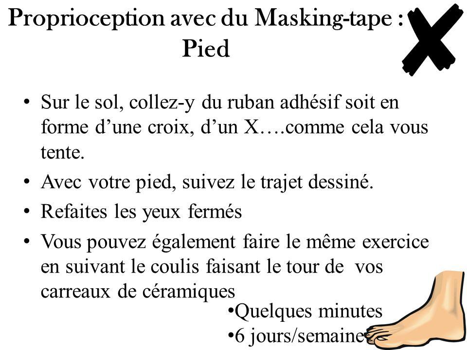 Proprioception avec du Masking-tape : Pied Sur le sol, collez-y du ruban adhésif soit en forme dune croix, dun X….comme cela vous tente. Avec votre pi