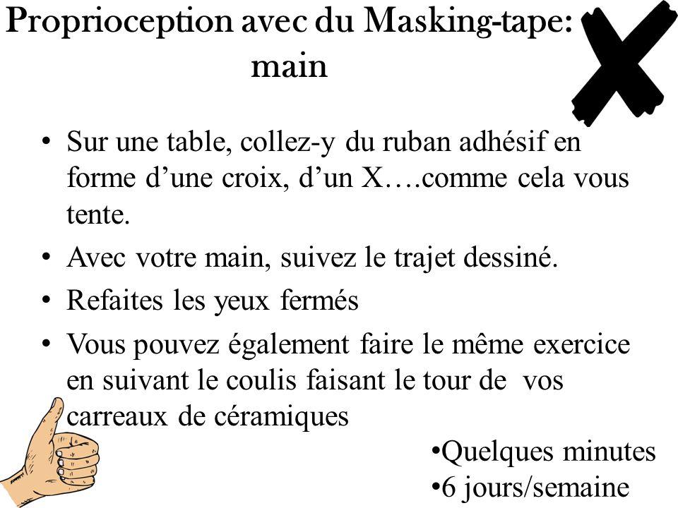 Proprioception avec du Masking-tape: main Sur une table, collez-y du ruban adhésif en forme dune croix, dun X….comme cela vous tente. Avec votre main,