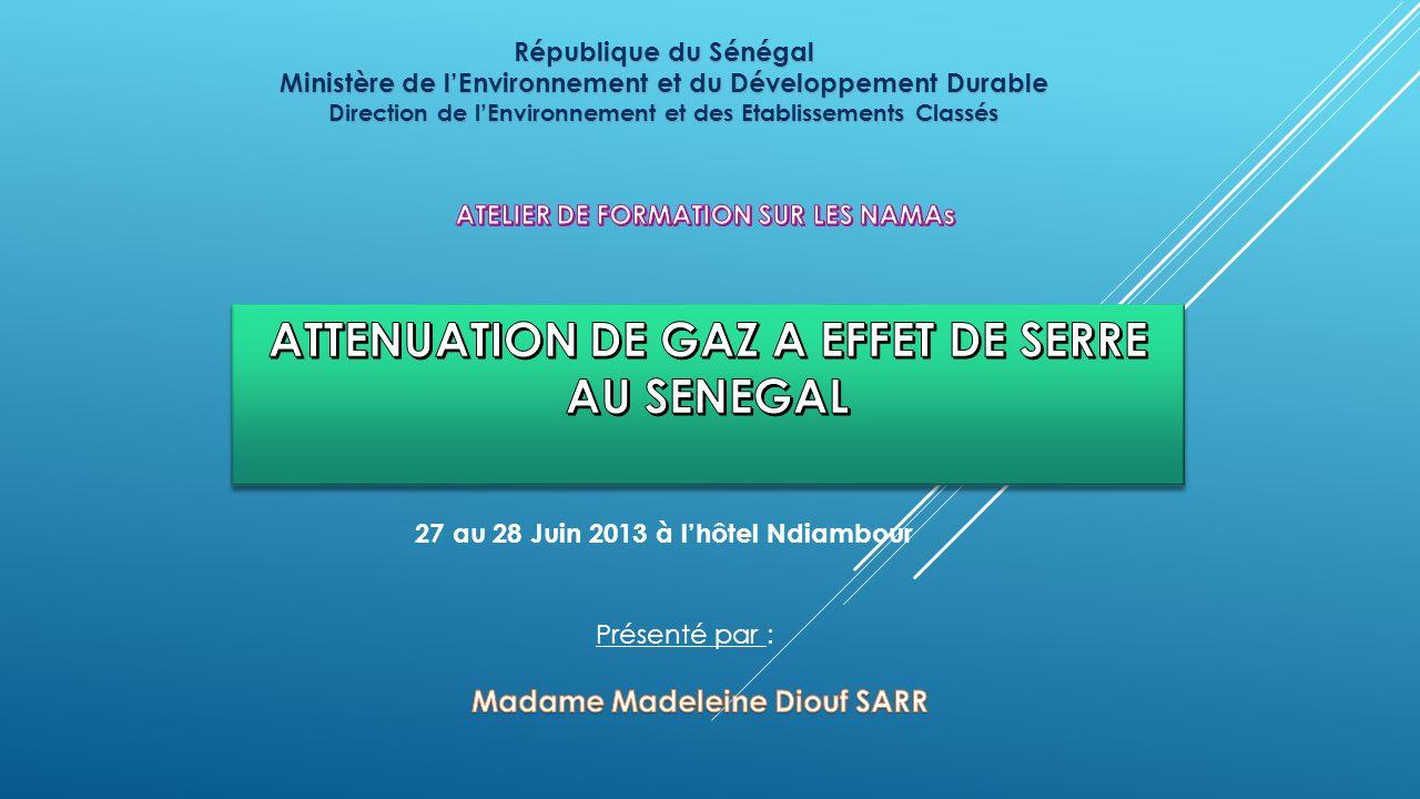 République du Sénégal Ministère de lEnvironnement et du Développement Durable Direction de lEnvironnement et des Etablissements Classés 27 au 28 Juin