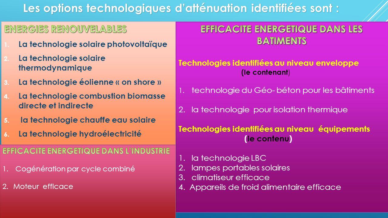 Les options technologiques datténuation identifiées sont :
