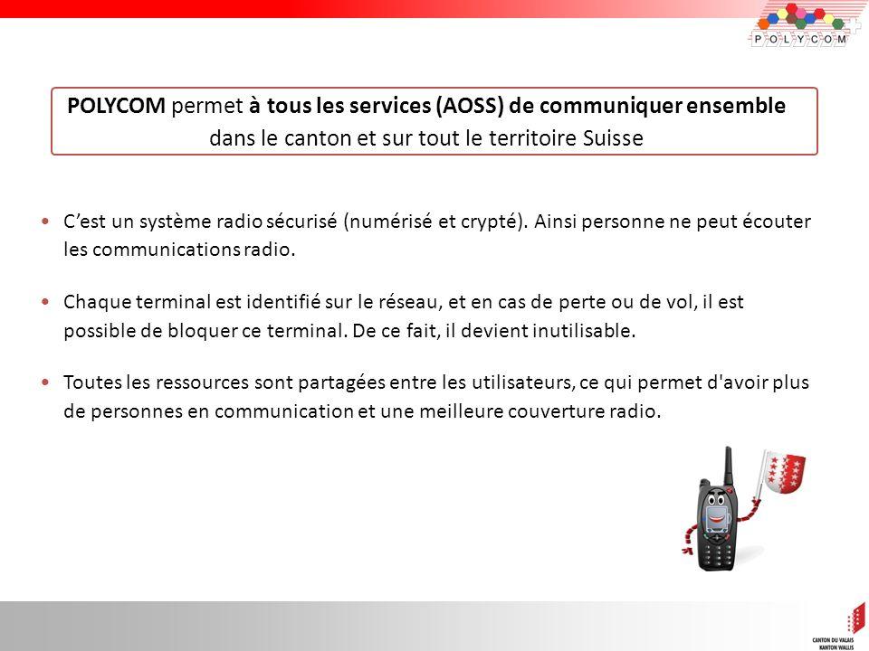 6 POLYCOM permet à tous les services (AOSS) de communiquer ensemble dans le canton et sur tout le territoire Suisse Cest un système radio sécurisé (nu