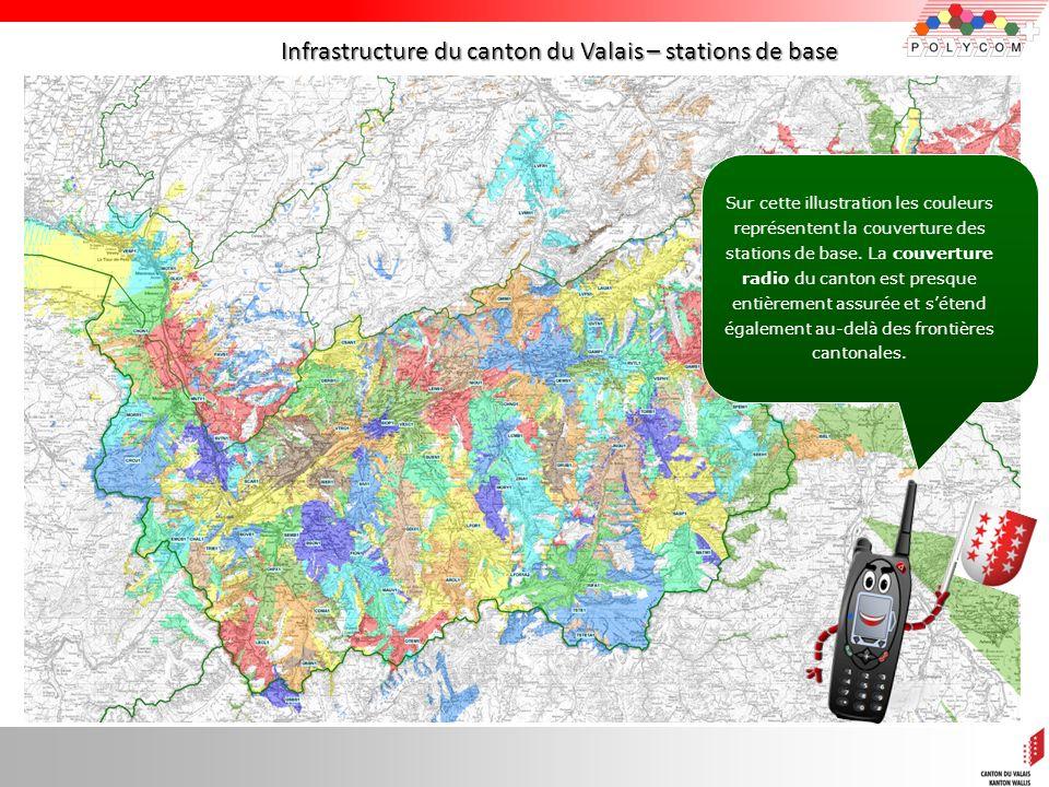 9 Infrastructure du canton du Valais – stations de base Sur cette illustration les couleurs représentent la couverture des stations de base. La couver