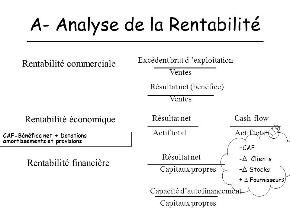 A- Analyse de la Rentabilité Rentabilité commerciale Rentabilité économique Rentabilité financière Excédent brut d exploitation Ventes Résultat net (b