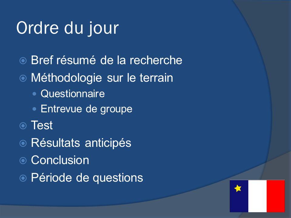 Ordre du jour Bref résumé de la recherche Méthodologie sur le terrain Questionnaire Entrevue de groupe Test Résultats anticipés Conclusion Période de questions