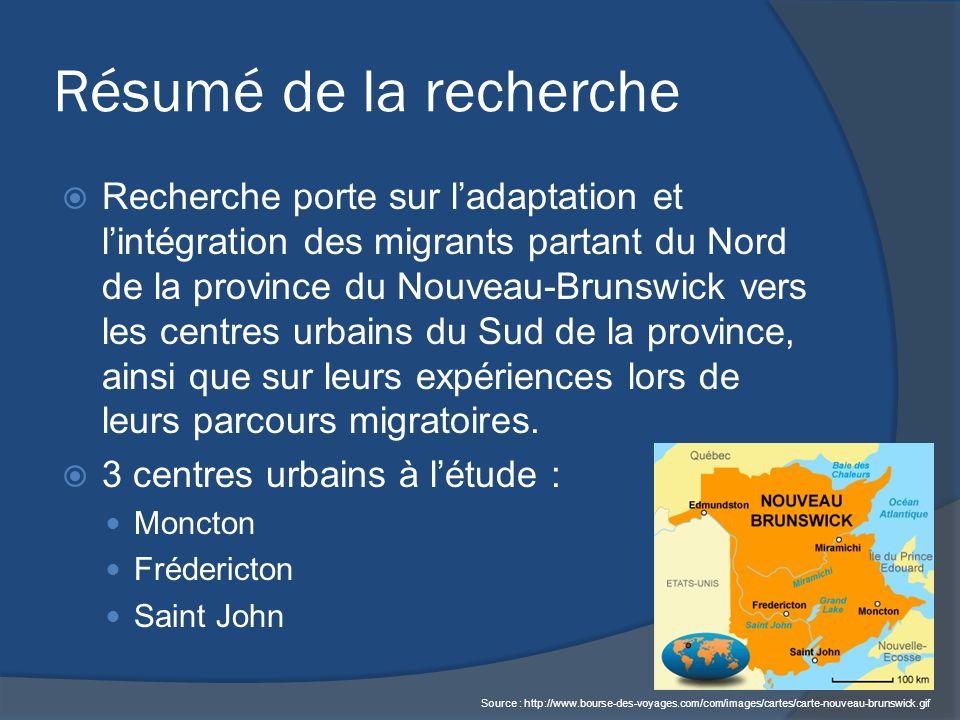 Résumé de la recherche Recherche porte sur ladaptation et lintégration des migrants partant du Nord de la province du Nouveau-Brunswick vers les centres urbains du Sud de la province, ainsi que sur leurs expériences lors de leurs parcours migratoires.
