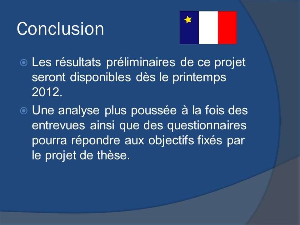 Conclusion Les résultats préliminaires de ce projet seront disponibles dès le printemps 2012.