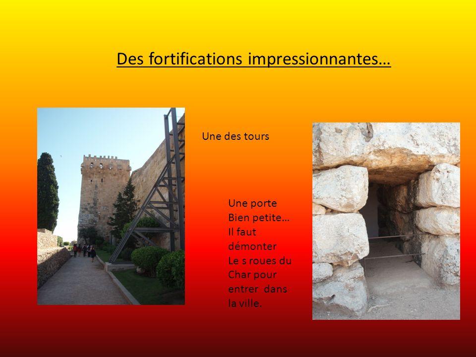 Des fortifications impressionnantes… Une des tours Une porte Bien petite… Il faut démonter Le s roues du Char pour entrer dans la ville.