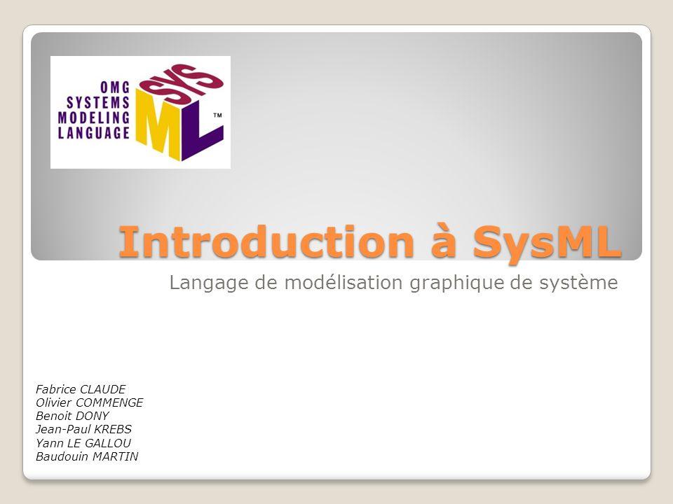 Introduction à SysML Langage de modélisation graphique de système Fabrice CLAUDE Olivier COMMENGE Benoit DONY Jean-Paul KREBS Yann LE GALLOU Baudouin MARTIN