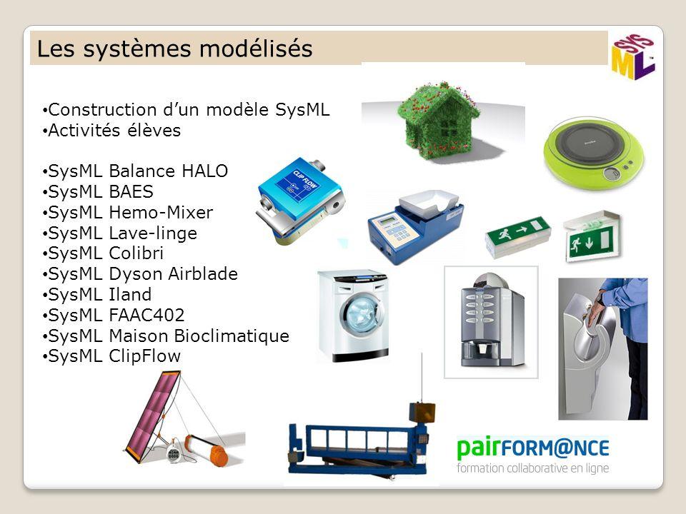 Les systèmes modélisés Construction dun modèle SysML Activités élèves SysML Balance HALO SysML BAES SysML Hemo-Mixer SysML Lave-linge SysML Colibri Sy