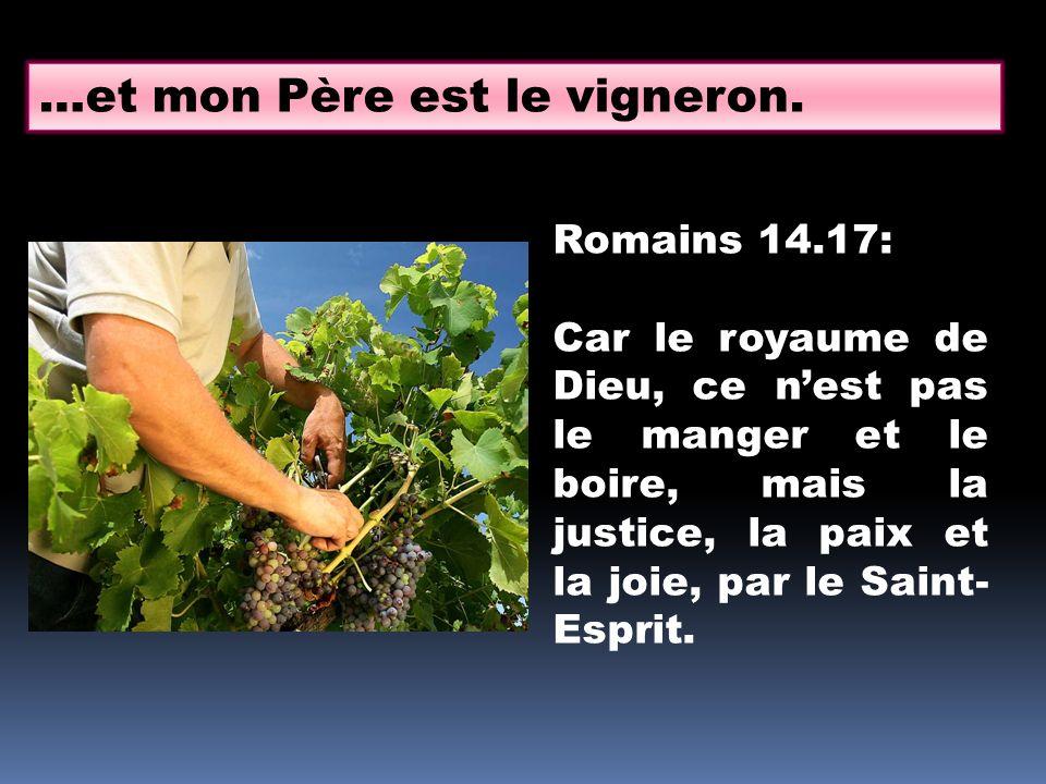 …et mon Père est le vigneron. Romains 14.17: Car le royaume de Dieu, ce nest pas le manger et le boire, mais la justice, la paix et la joie, par le Sa