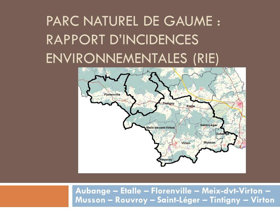 PARC NATUREL DE GAUME : RAPPORT DINCIDENCES ENVIRONNEMENTALES (RIE) Aubange – Etalle – Florenville – Meix-dvt-Virton – Musson – Rouvroy – Saint-Léger