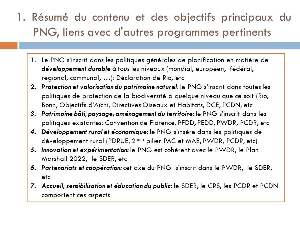1. Résumé du contenu et des objectifs principaux du PNG, liens avec d'autres programmes pertinents 1.Le PNG sinscrit dans les politiques générales de