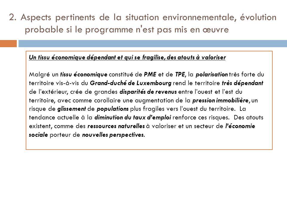 2. Aspects pertinents de la situation environnementale, évolution probable si le programme n'est pas mis en œuvre Un tissu économique dépendant et qui