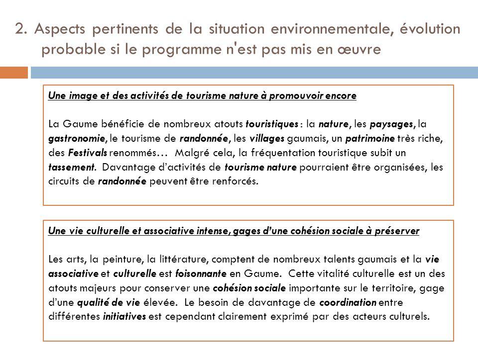 2. Aspects pertinents de la situation environnementale, évolution probable si le programme n'est pas mis en œuvre Une image et des activités de touris