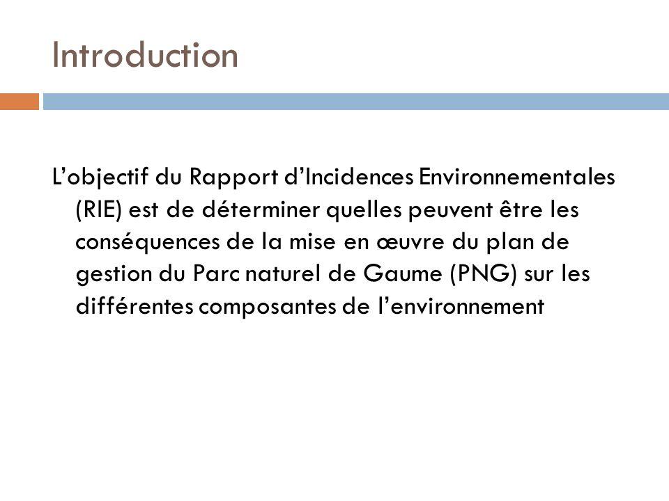 Introduction Lobjectif du Rapport dIncidences Environnementales (RIE) est de déterminer quelles peuvent être les conséquences de la mise en œuvre du p