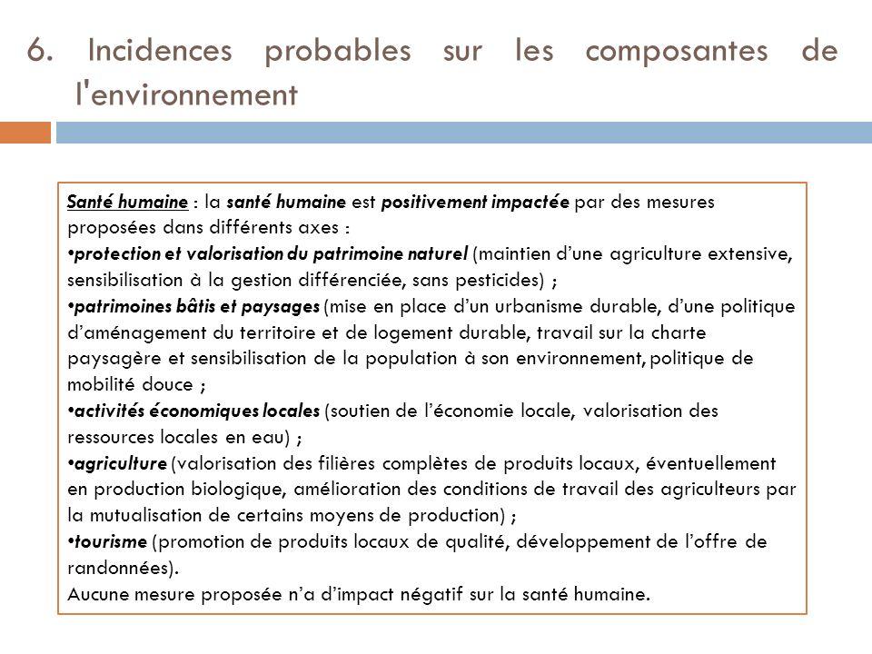 6. Incidences probables sur les composantes de l'environnement Santé humaine : la santé humaine est positivement impactée par des mesures proposées da