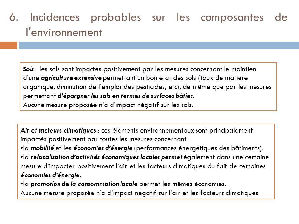 6. Incidences probables sur les composantes de l'environnement Sols : les sols sont impactés positivement par les mesures concernant le maintien dune