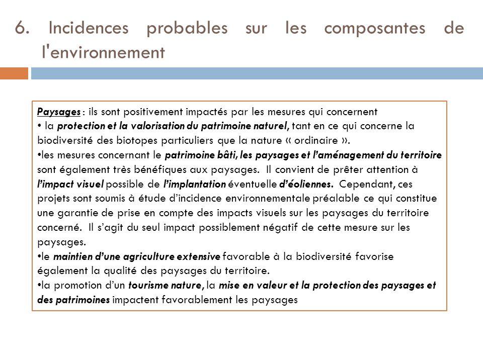 6. Incidences probables sur les composantes de l'environnement Paysages : ils sont positivement impactés par les mesures qui concernent la protection