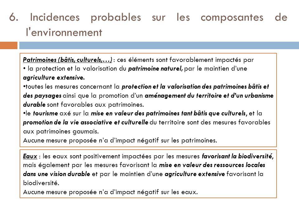 6. Incidences probables sur les composantes de l'environnement Patrimoines (bâtis, culturels,…) : ces éléments sont favorablement impactés par la prot