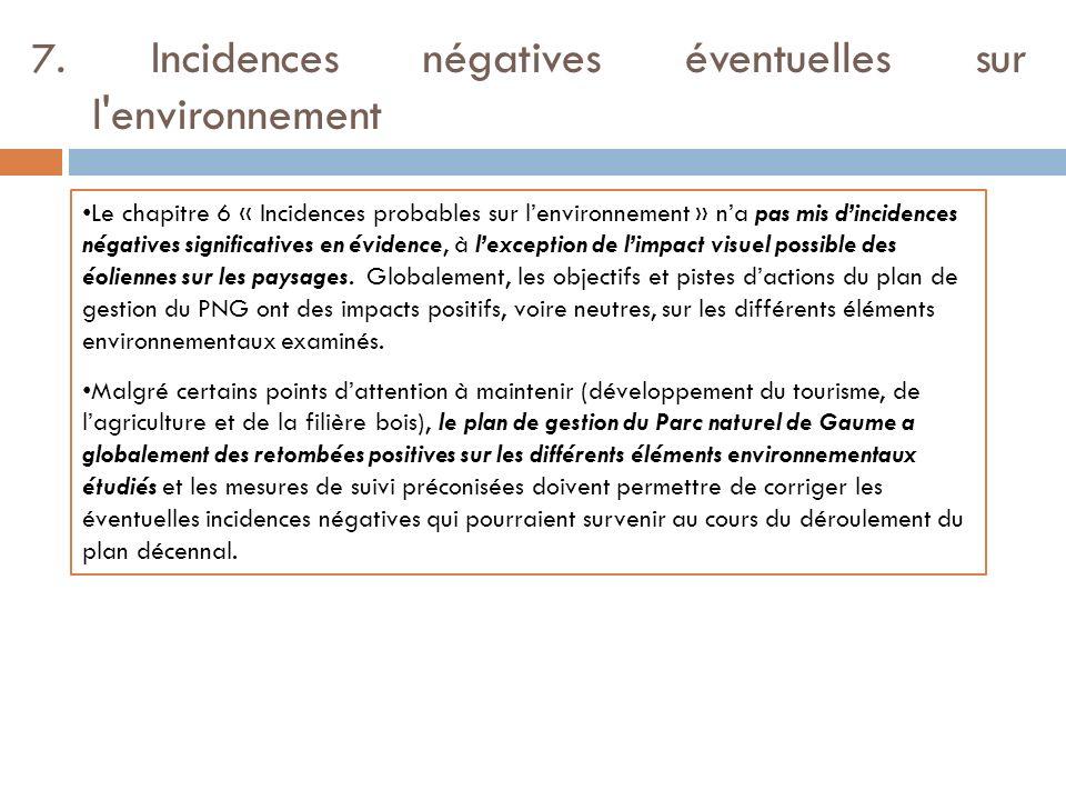 7. Incidences négatives éventuelles sur l'environnement Le chapitre 6 « Incidences probables sur lenvironnement » na pas mis dincidences négatives sig