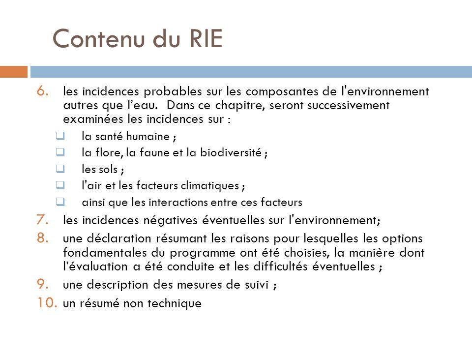 Contenu du RIE 6. les incidences probables sur les composantes de l'environnement autres que leau. Dans ce chapitre, seront successivement examinées l