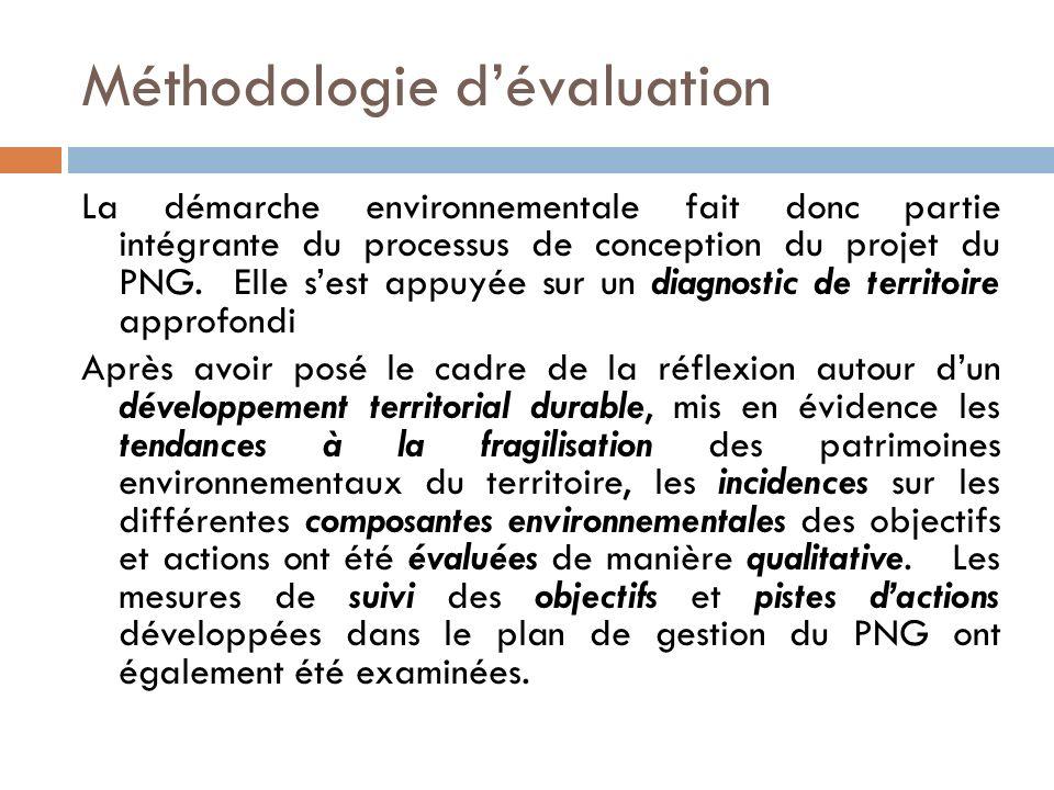 Méthodologie dévaluation La démarche environnementale fait donc partie intégrante du processus de conception du projet du PNG. Elle sest appuyée sur u
