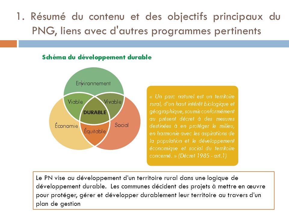 1. Résumé du contenu et des objectifs principaux du PNG, liens avec d'autres programmes pertinents Le PN vise au développement dun territoire rural da