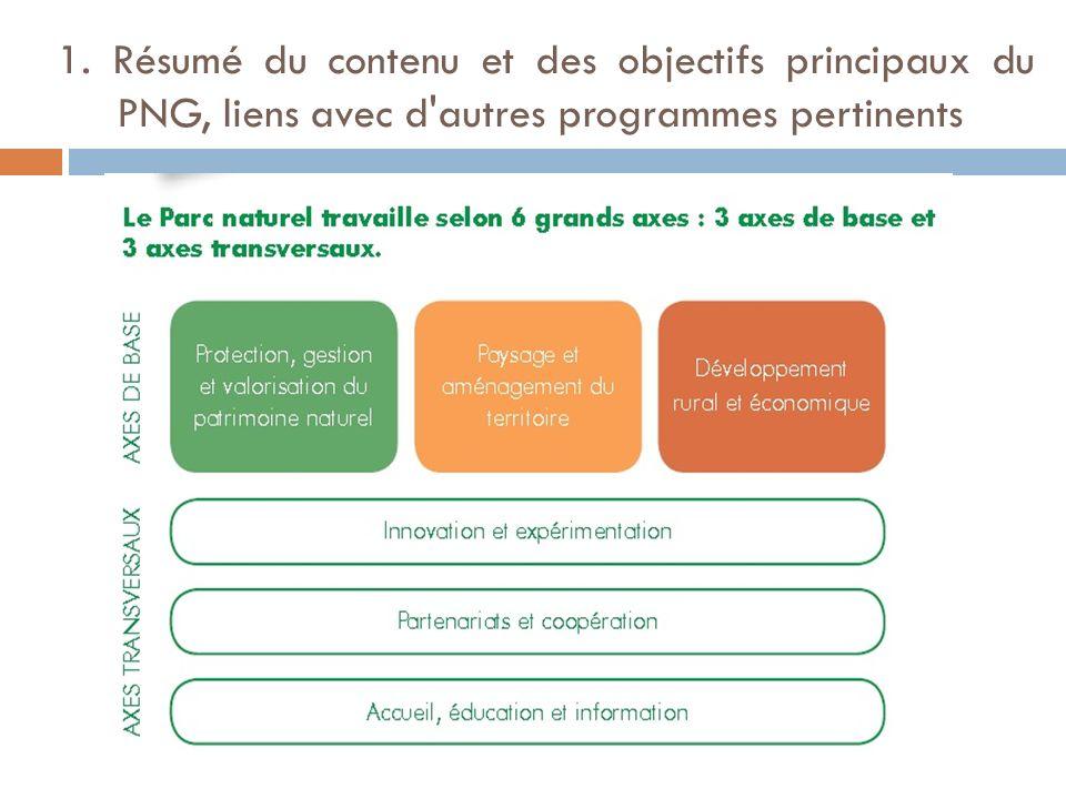 1. Résumé du contenu et des objectifs principaux du PNG, liens avec d'autres programmes pertinents