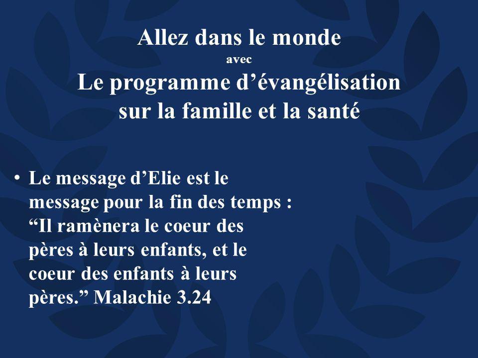Le message dElie est le message pour la fin des temps : Il ramènera le coeur des pères à leurs enfants, et le coeur des enfants à leurs pères.