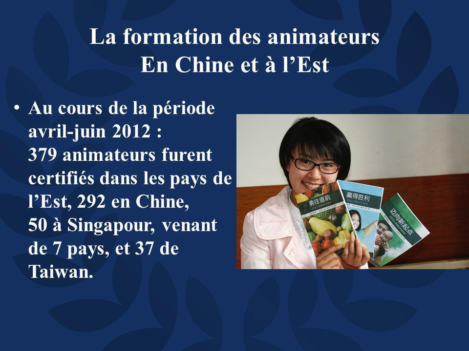 Au cours de la période avril-juin 2012 : 379 animateurs furent certifiés dans les pays de lEst, 292 en Chine, 50 à Singapour, venant de 7 pays, et 37 de Taiwan.