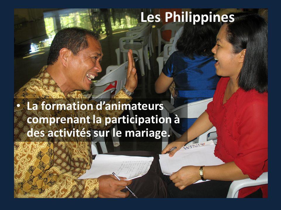 Les Philippines La formation danimateurs comprenant la participation à des activités sur le mariage.