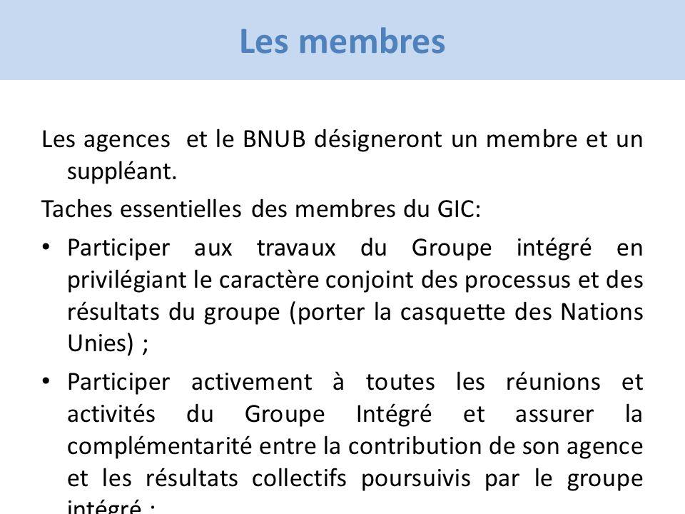 Click to edit Master title style Les membres Les agences et le BNUB désigneront un membre et un suppléant.