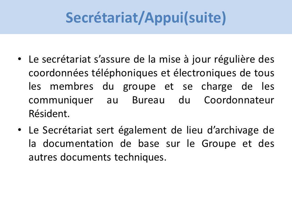 Click to edit Master title style Secrétariat/Appui(suite) Le secrétariat sassure de la mise à jour régulière des coordonnées téléphoniques et électroniques de tous les membres du groupe et se charge de les communiquer au Bureau du Coordonnateur Résident.