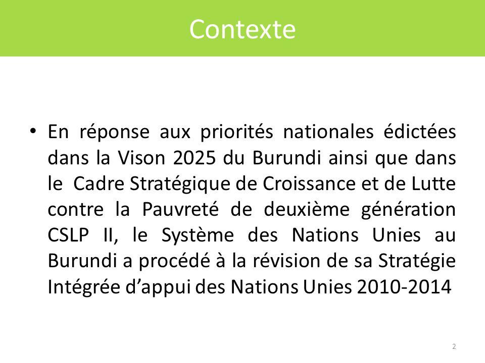 Click to edit Master title style Contexte En réponse aux priorités nationales édictées dans la Vison 2025 du Burundi ainsi que dans le Cadre Stratégique de Croissance et de Lutte contre la Pauvreté de deuxième génération CSLP II, le Système des Nations Unies au Burundi a procédé à la révision de sa Stratégie Intégrée dappui des Nations Unies 2010-2014 2