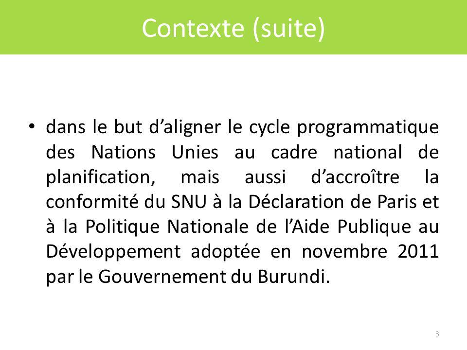 Click to edit Master title style Contexte (suite) dans le but daligner le cycle programmatique des Nations Unies au cadre national de planification, mais aussi daccroître la conformité du SNU à la Déclaration de Paris et à la Politique Nationale de lAide Publique au Développement adoptée en novembre 2011 par le Gouvernement du Burundi.