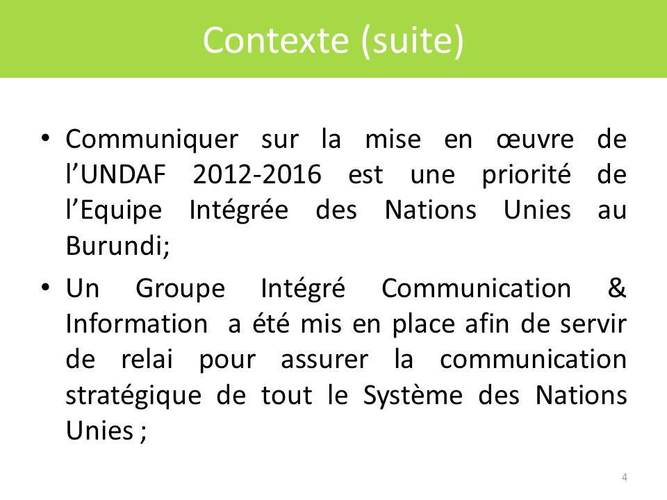 Click to edit Master title style Contexte (suite) Communiquer sur la mise en œuvre de lUNDAF 2012-2016 est une priorité de lEquipe Intégrée des Nations Unies au Burundi; Un Groupe Intégré Communication & Information a été mis en place afin de servir de relai pour assurer la communication stratégique de tout le Système des Nations Unies ; 4