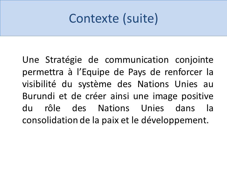 Click to edit Master title style Contexte (suite) Une Stratégie de communication conjointe permettra à lEquipe de Pays de renforcer la visibilité du système des Nations Unies au Burundi et de créer ainsi une image positive du rôle des Nations Unies dans la consolidation de la paix et le développement.