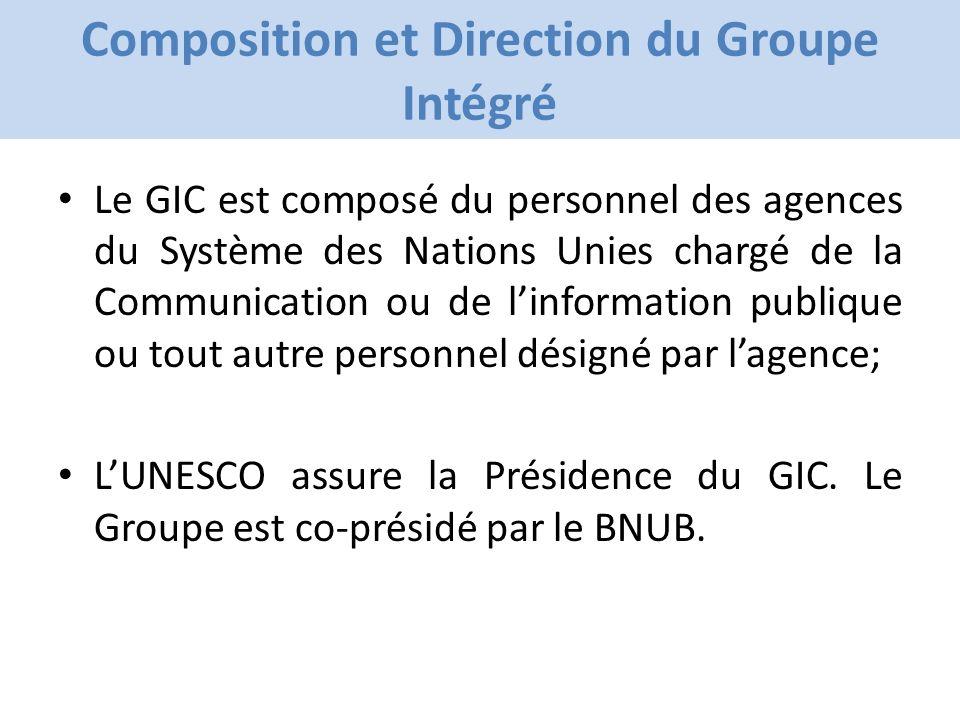 Click to edit Master title style Composition et Direction du Groupe Intégré Le GIC est composé du personnel des agences du Système des Nations Unies chargé de la Communication ou de linformation publique ou tout autre personnel désigné par lagence; LUNESCO assure la Présidence du GIC.