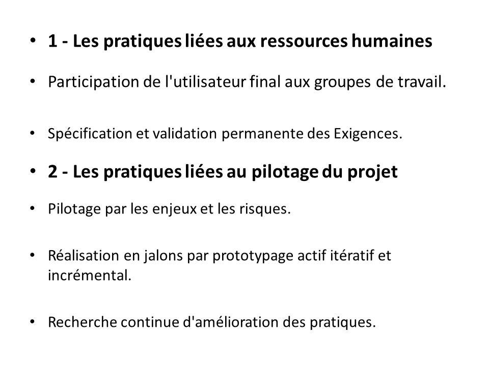 1 - Les pratiques liées aux ressources humaines Participation de l utilisateur final aux groupes de travail.