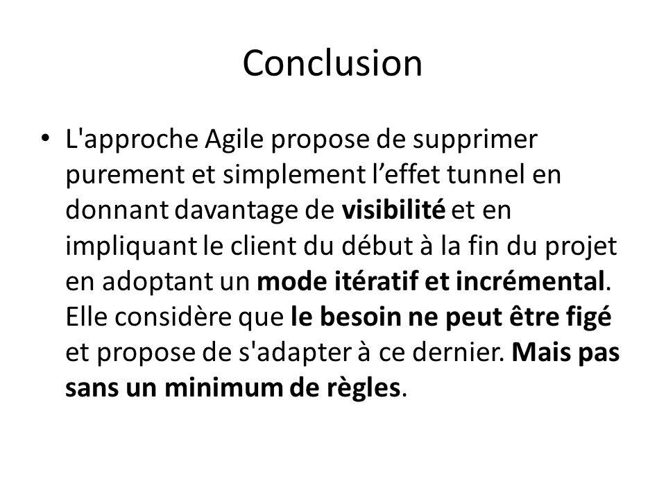 Conclusion L approche Agile propose de supprimer purement et simplement leffet tunnel en donnant davantage de visibilité et en impliquant le client du début à la fin du projet en adoptant un mode itératif et incrémental.