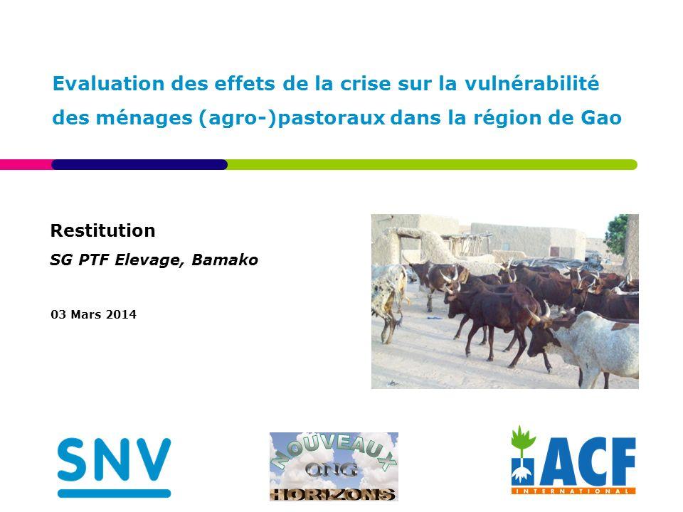 Restitution SG PTF Elevage, Bamako 03 Mars 2014 Evaluation des effets de la crise sur la vulnérabilité des ménages (agro-)pastoraux dans la région de Gao