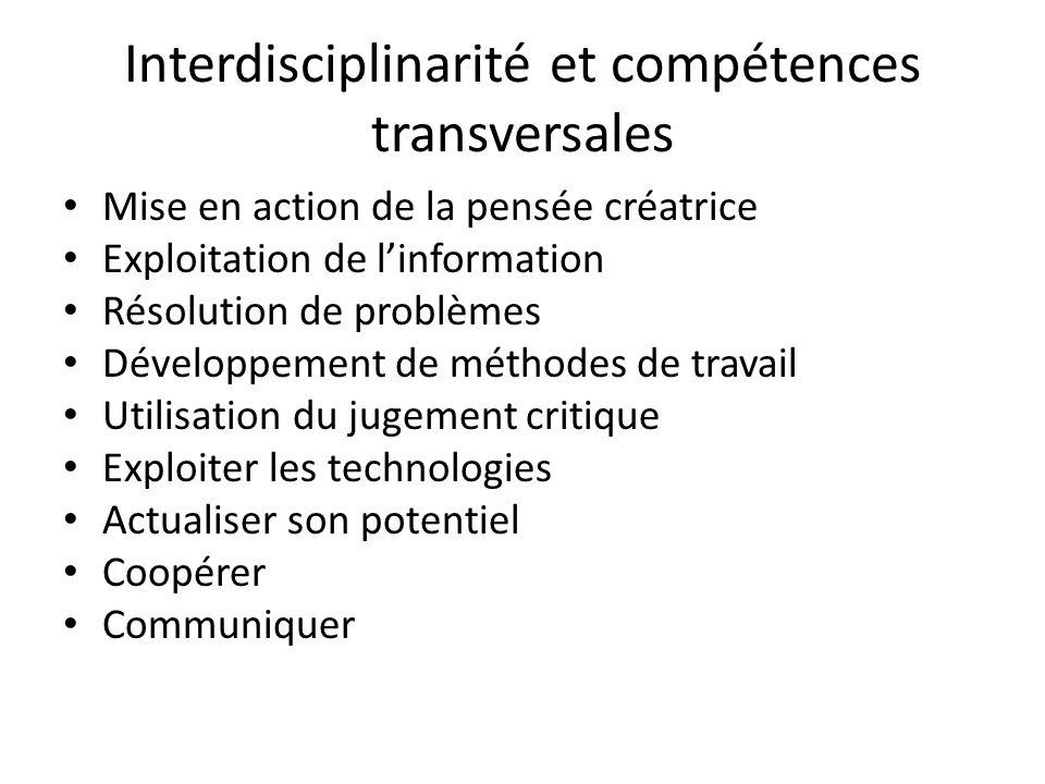Interdisciplinarité et compétences transversales Mise en action de la pensée créatrice Exploitation de linformation Résolution de problèmes Développem