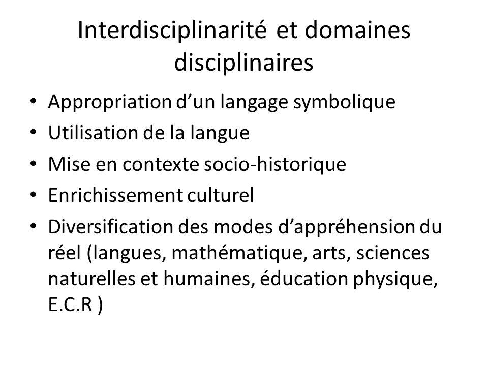 Interdisciplinarité et domaines disciplinaires Appropriation dun langage symbolique Utilisation de la langue Mise en contexte socio-historique Enrichi