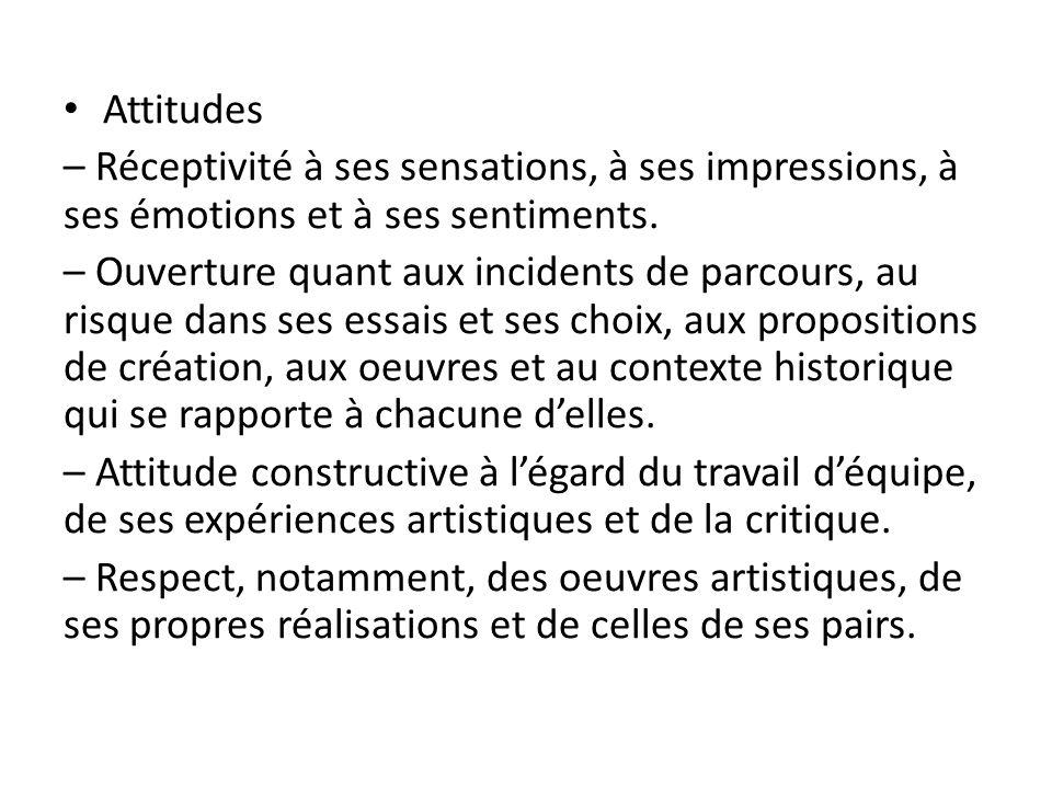 Attitudes – Réceptivité à ses sensations, à ses impressions, à ses émotions et à ses sentiments. – Ouverture quant aux incidents de parcours, au risqu