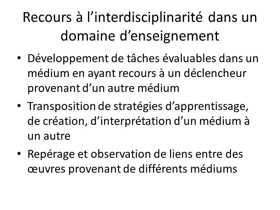 Recours à linterdisciplinarité dans un domaine denseignement Développement de tâches évaluables dans un médium en ayant recours à un déclencheur prove