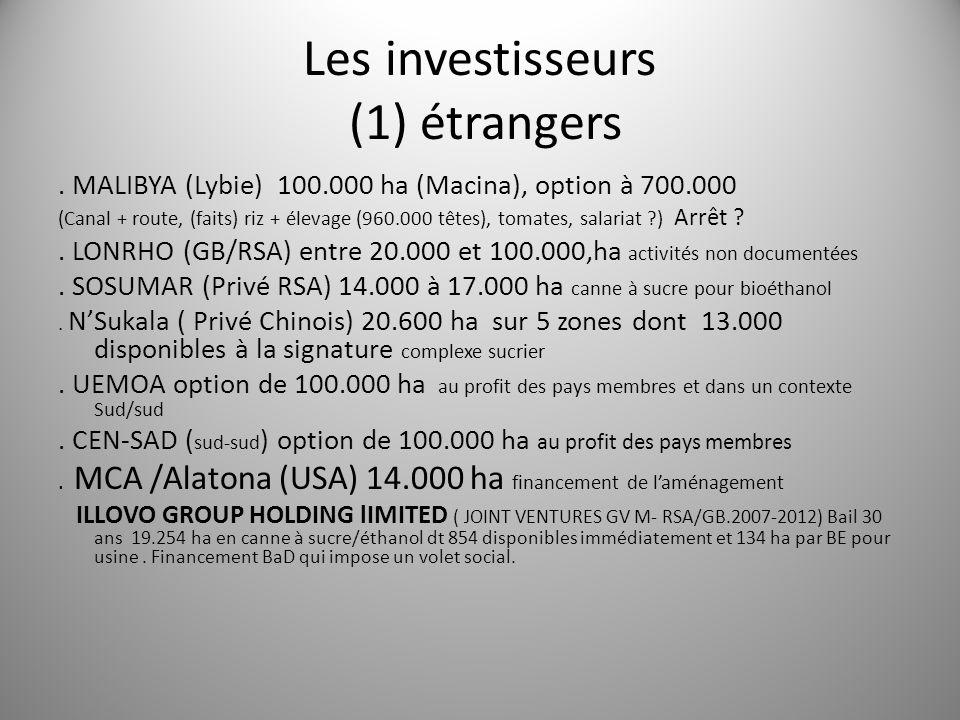 Les investisseurs (1) étrangers. MALIBYA (Lybie) 100.000 ha (Macina), option à 700.000 (Canal + route, (faits) riz + élevage (960.000 têtes), tomates,