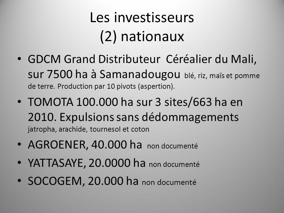Les investisseurs (2) nationaux GDCM Grand Distributeur Céréalier du Mali, sur 7500 ha à Samanadougou blé, riz, maïs et pomme de terre. Production par
