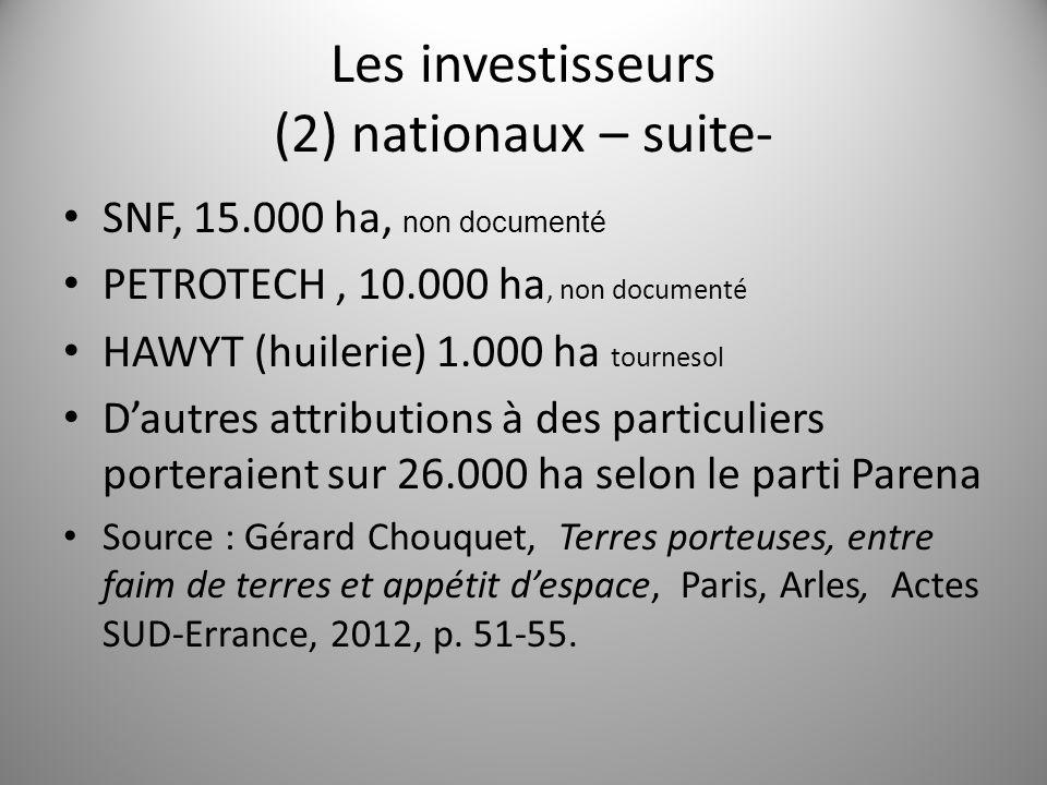 Les investisseurs (2) nationaux – suite- SNF, 15.000 ha, non documenté PETROTECH, 10.000 ha, non documenté HAWYT (huilerie) 1.000 ha tournesol Dautres