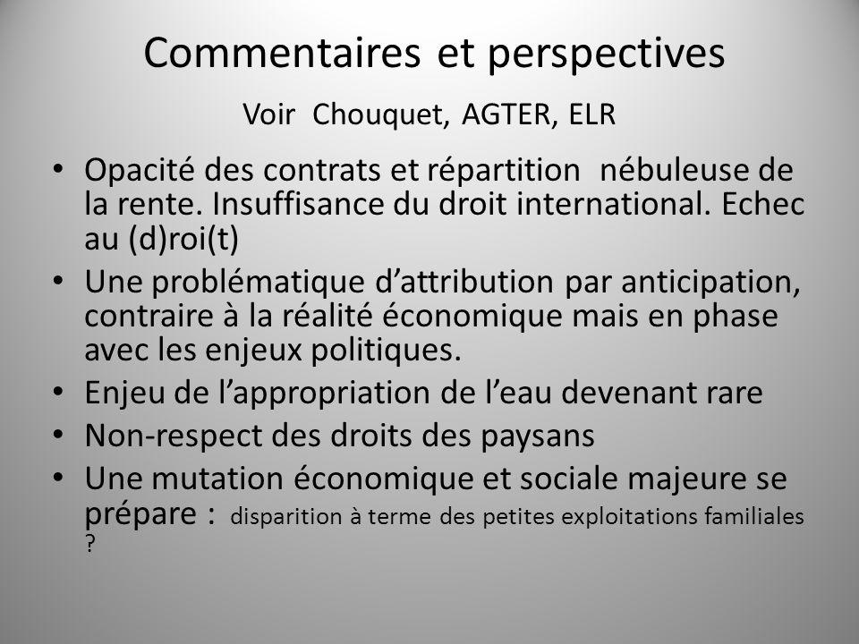 Commentaires et perspectives Voir Chouquet, AGTER, ELR Opacité des contrats et répartition nébuleuse de la rente. Insuffisance du droit international.